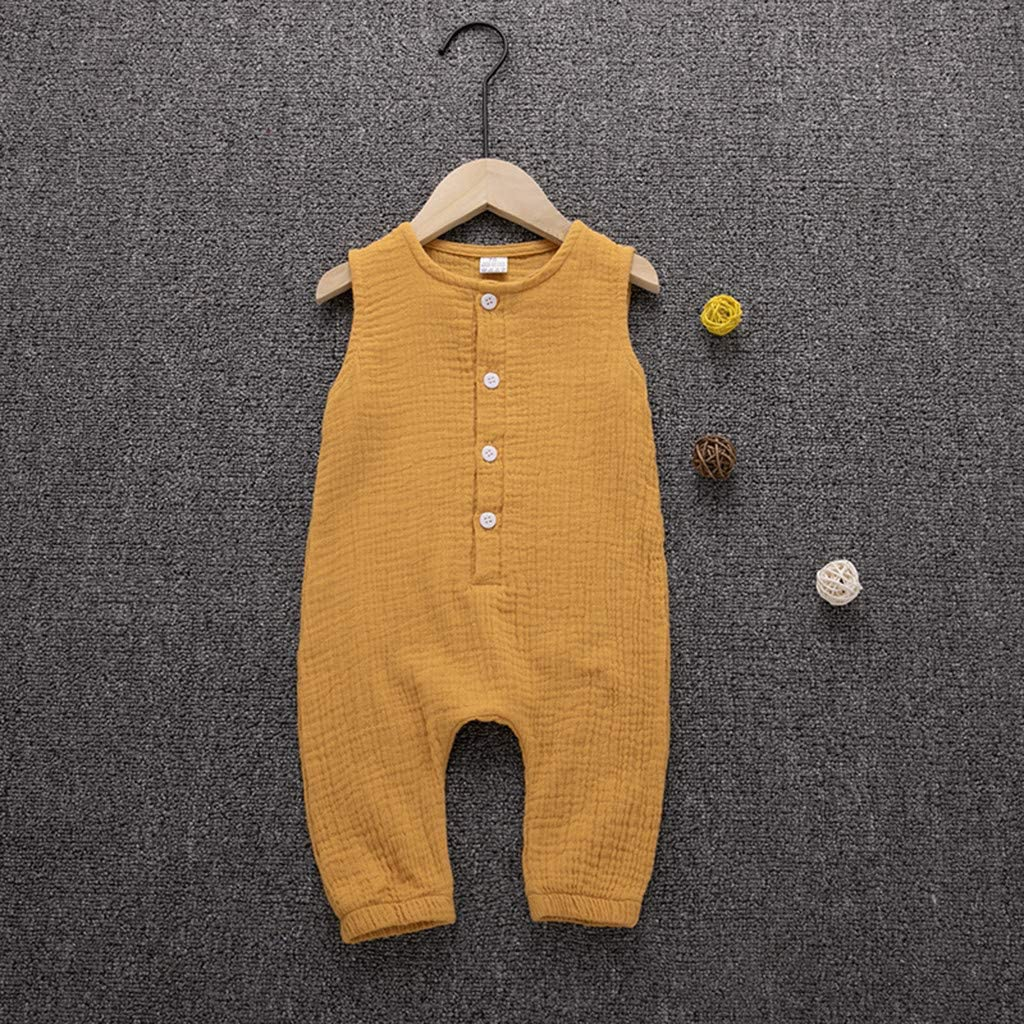 LiLiMeng Summer Infant Baby Boys/&Girls Ruffles Solid Vest Button Long Romper Jumpsuit Clothes