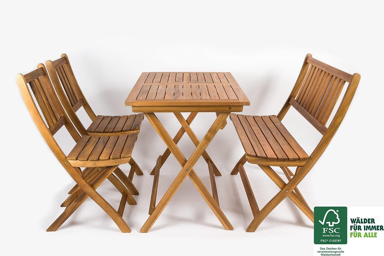 SAM® Salon de jardin, bois d\'acacia, 4 unités, 1 table + 2 chaises ...