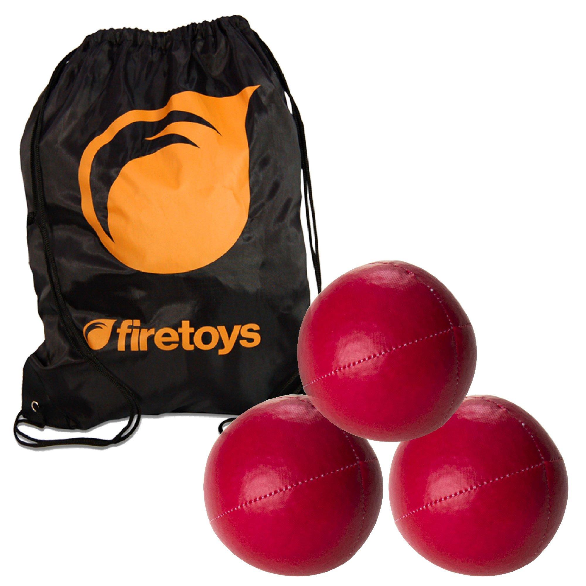 Juggling Ball Set - 3X Red Juggling Balls & Firetoys Bag