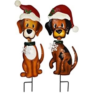"Gift Boutique Christmas Yard Stakes - Outdoor Garden Decorations - Set of 2 30"" Metal Bobble-Head Dog Holiday Decoration"