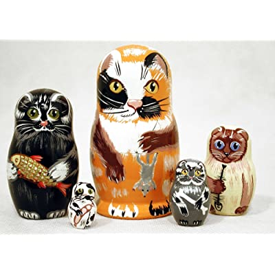"Golden Cockerel Alley Cat Nesting Doll 5pc./4"": Toys & Games"