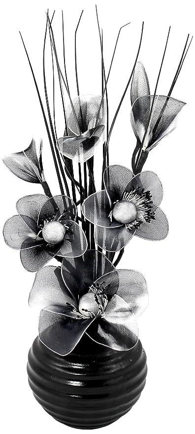 Flourish 704490 813 Black Vase With Black And White Nylon Artificial