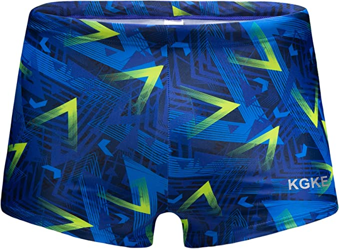 KGKE Swim Boxer Briefs Short Swim Jammer Camo Racer Mens Square Leg Swimsuit Swimwear