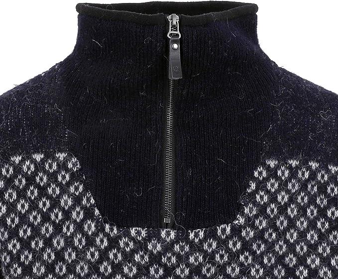 ICEWEAR Eirikur Men's High Collar Sweater Nordic Knit Design 100% Wool Long Sleeve Winters Quarter Zip Sweater