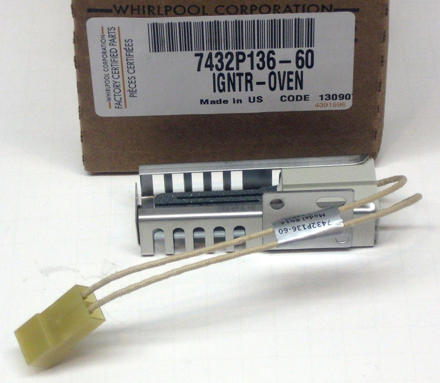 Whirlpool Part Number 7432P136-60: IGNITER (BAKE)