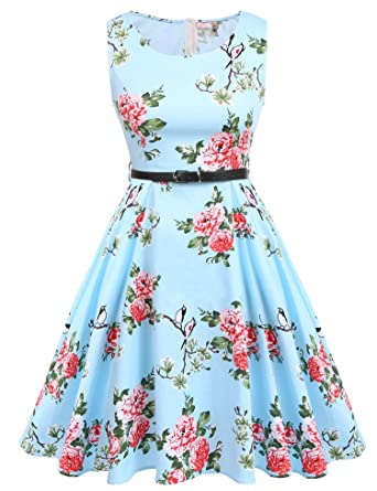 08815af13ab ACEVOG Cocktail Dress 1950 s Floral Vintage Party Dress ... ACEVOG