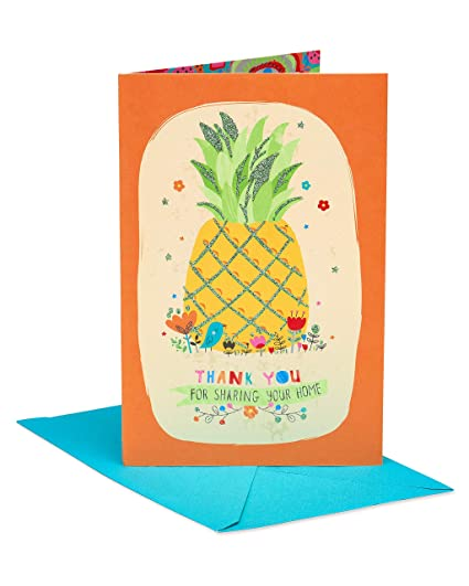 American Greetings Pineapple Hospitality Thank You Greeting Card with  Glitter