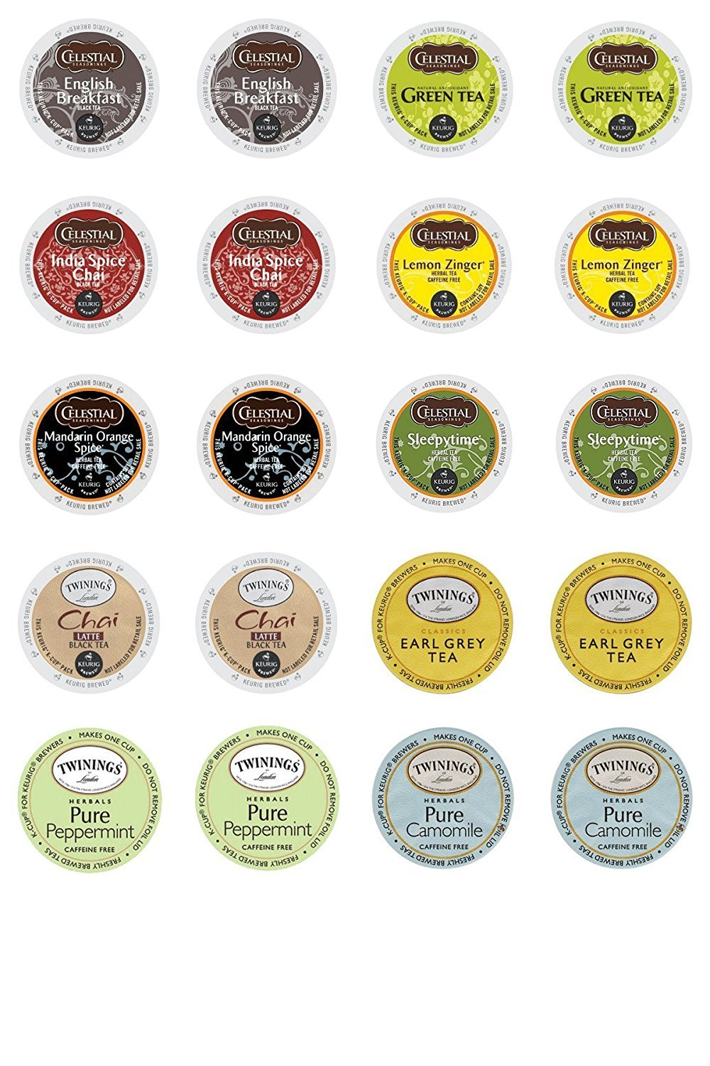 Twinings & Celestial Seasonings Hot Tea Variety Single Serve Sampler Pack - 20 Count/10 Flavors Per Box SYNCHKG088899