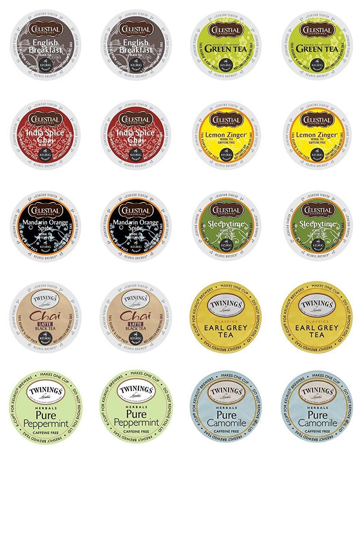 Twinings & Celestial Seasonings Hot Tea Variety Single Serve Sampler Pack - 20 Count/10 Flavors Per Box by Twinings