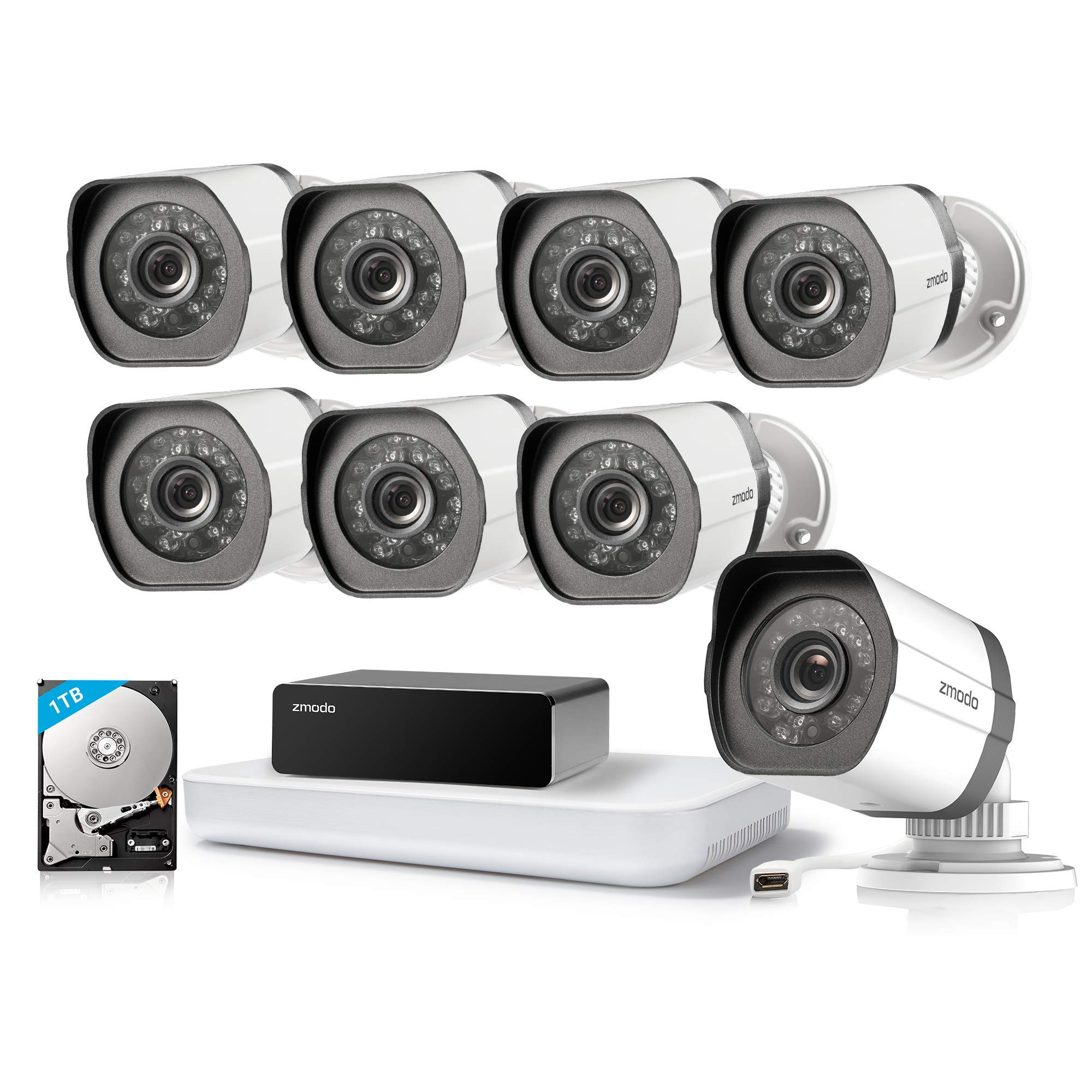 Zmodo 8CH 1080P HDMI NVR w/1TB HDD 8Pack 720P Security Camera System w/Repeater for Flexible Installation & Extension, Customizable Motion Detection by Zmodo