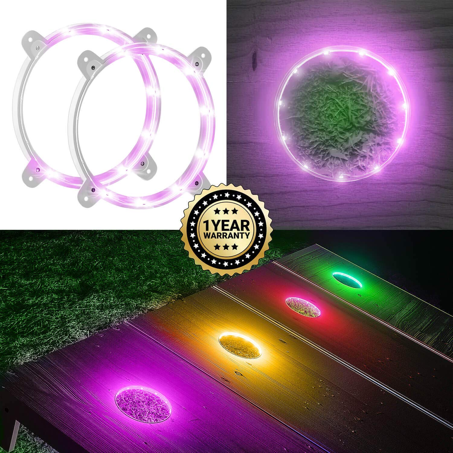 IMMOBIUS Cornhole LED Board Lights so You Can Play at Night! (Set of 2) -Choose from 4 Colors- 1 Year Replacement Warranty, Sturdy Build, Lasts 100+ Hours on 2 AA Batteries! (Pink)