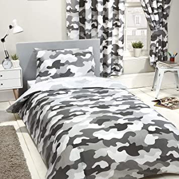 "54/"" Lined Curtains New Camouflage Single Duvet Cover and Set FREE P+P"