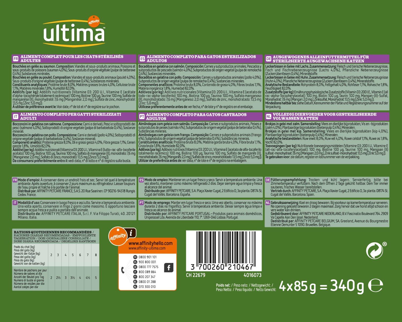 Ultima Comida Húmeda para Gatos Esterilizados - 10 multipacks de 4 ...