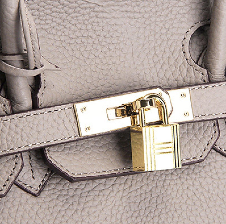 Mode enfärgad präglad det första lagret Litchi mönster bärbart platinapaket, grå Grått