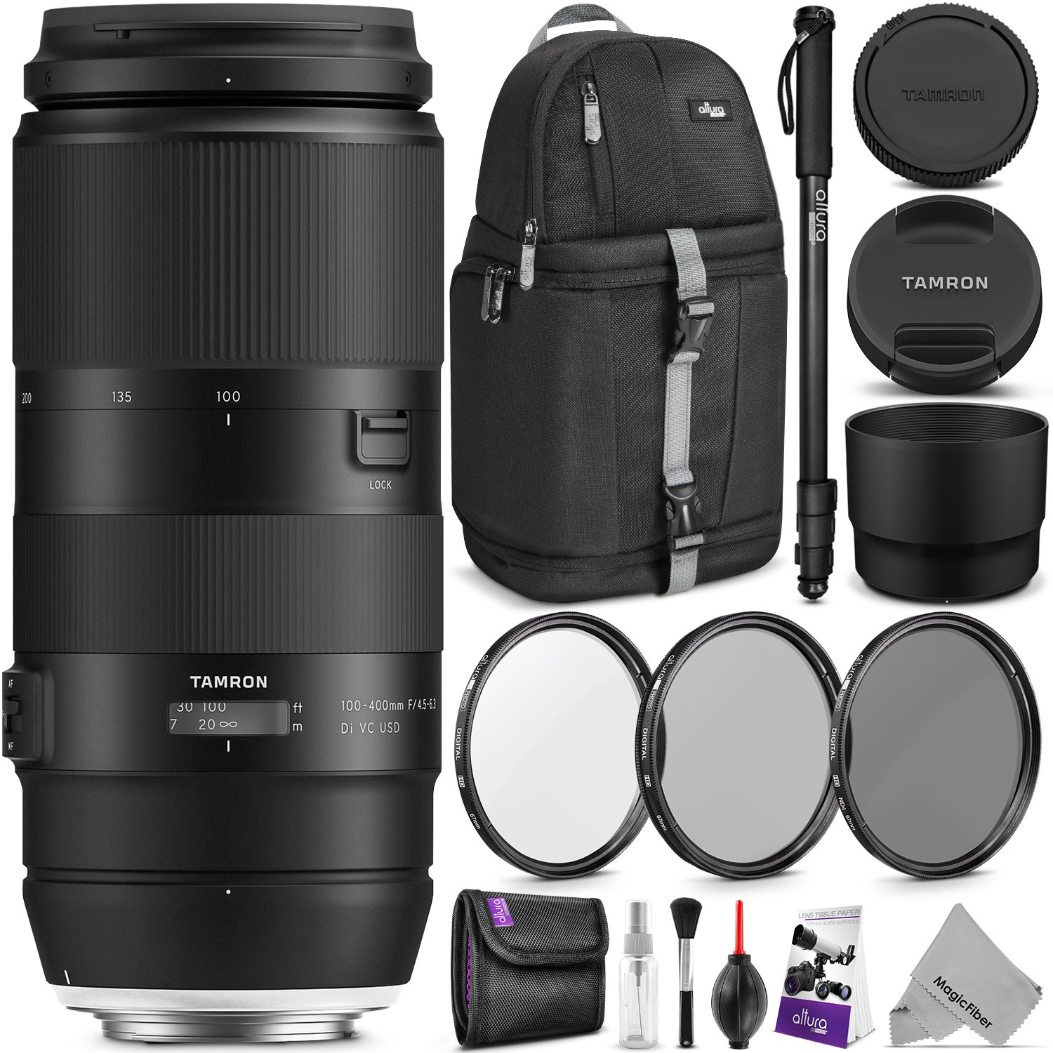 Tamron 100-400mm f/4.5-6.3 Di VC USD Lens for Canon EF w/Advanced Photo and Travel Bundle (Tamron 6 Year Limited USA Warranty) by Tamron (Image #1)