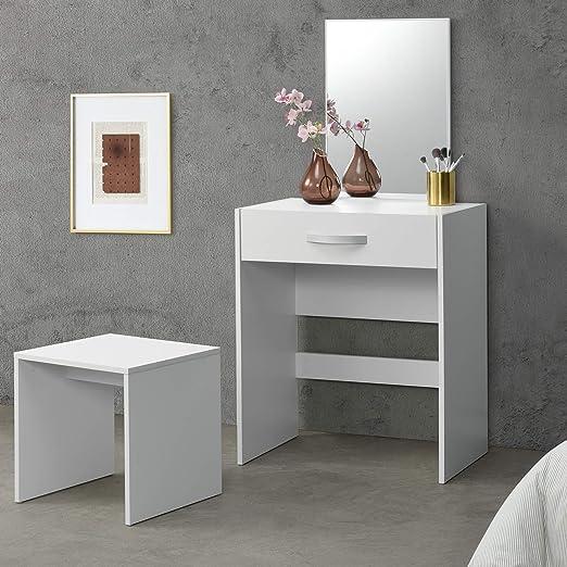 60.2 x 40.2 x 79cm MDF Bianco homcom Tavolo da Trucco con Sgabello Specchio Richiudibile Vano Contenitore 10 Scomparti