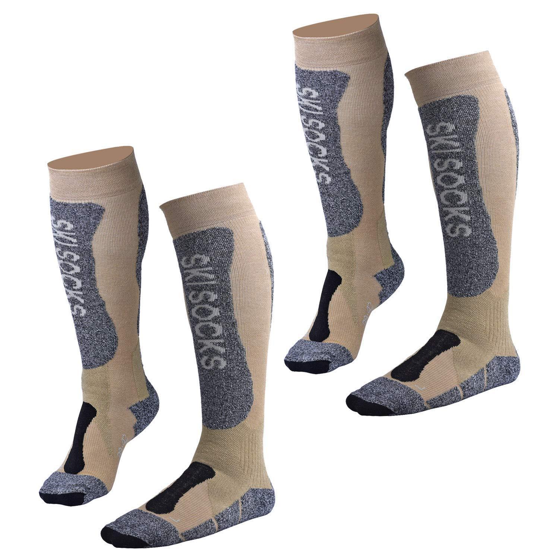 Fitself Thermolite Winter Ski Socks Snow Snowboard Padded Knee Mens Womens