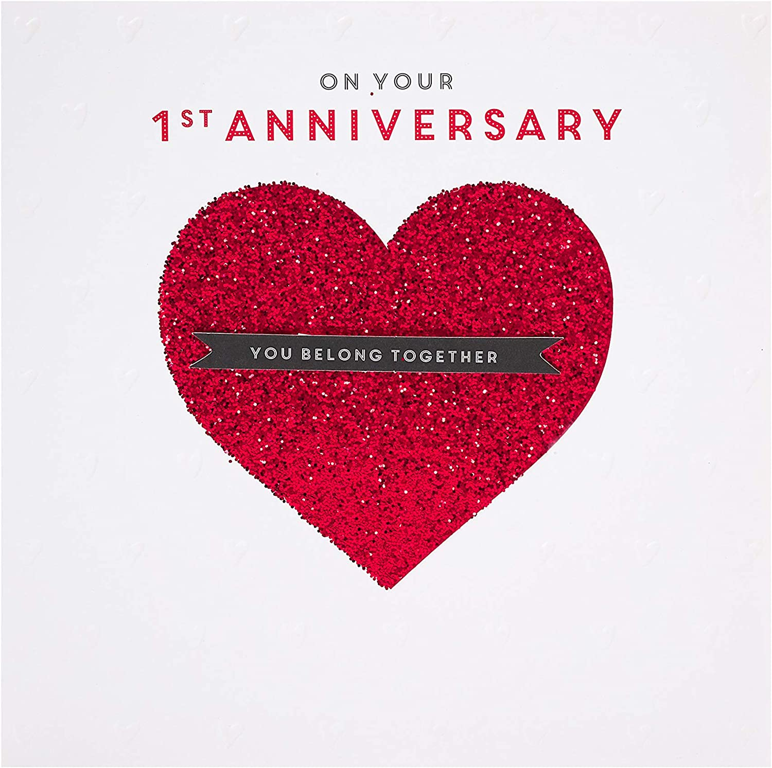 On Your First Anniversary Embossed Wedding Anniversary Card Congratulations