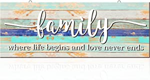 Hicarer Family Inspirational Wall Decor Where Lifes Begins and Love Never End, Rustic Wood Farmhouse Family Hanging Wall Art Sign Printed Plaque Unframed for Living Room Home Wall Outdoor
