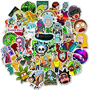 Mosteck Rick and Morty Stickers for Hydro Flask,   50 PCS   Vinyl Waterproof Stickers for Laptop,Skateboard,Water Bottles,Computer,Phone, Cute Anime Stickers (Rick and Morty)