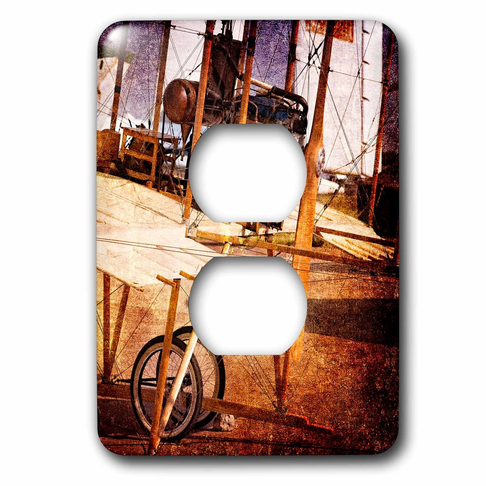 3dRose Alexis Photography - Transport Air - Abstracts of aviation - Engine and gear of ancient flying machine - Light Switch Covers - 2 plug outlet cover (lsp_271985_6) by 3dRose (Image #1)