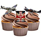 Keep Calm British Spitfire Mix - Edible Stand-up CupCake Toppers (pack of 12)