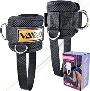 VAIIO Ankle Straps for Cable Machines,Adjustable Comfort fit Neoprene, Reinforce Double D-Ring - Premium Ankle Cuffs to Improve Abdominal Muscles, Lift The Butts, Tone The Legs for Men & Women