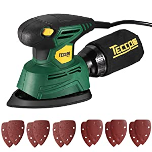 TECCPO Compact Mouse Detail Sander with 12Pcs Sandpapers, 14,000 OPM Multi-Function Sander