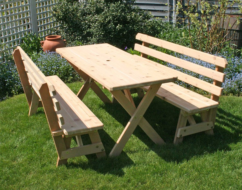 amazon com cedar picnic table with backed benches 8ft outdoor rh amazon com cedar picnic table kit cedar picnic table canada