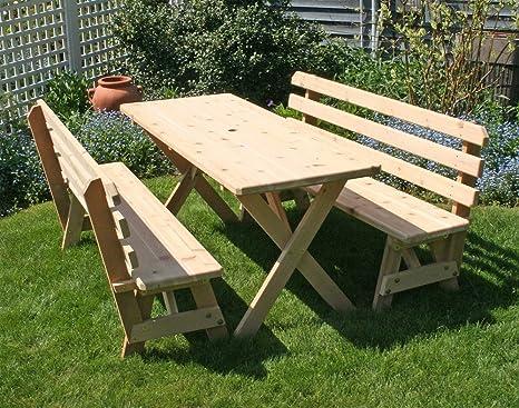 Brilliant Amazon Com Creekvine Designs Cedar Picnic Table With Backed Creativecarmelina Interior Chair Design Creativecarmelinacom