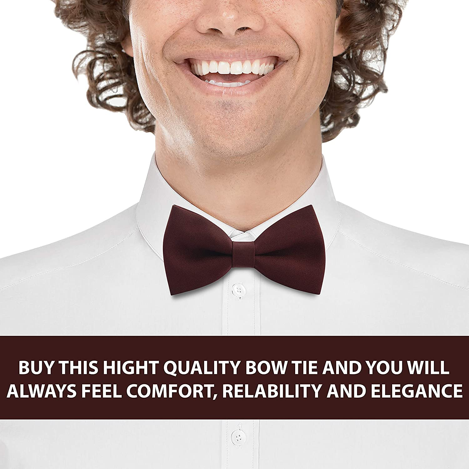 by Bow Tie House Medium, Red Classic Pre-Tied Bow Tie Formal Solid Tuxedo