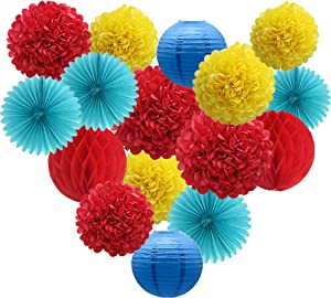 ADLKGG Red Yellow Blue Party Decorations, Hanging Paper Fans Pom Poms Flowers Lanterns Honeycomb Balls for Welcome Back to School Decor Carnival Circus Wedding Birthday