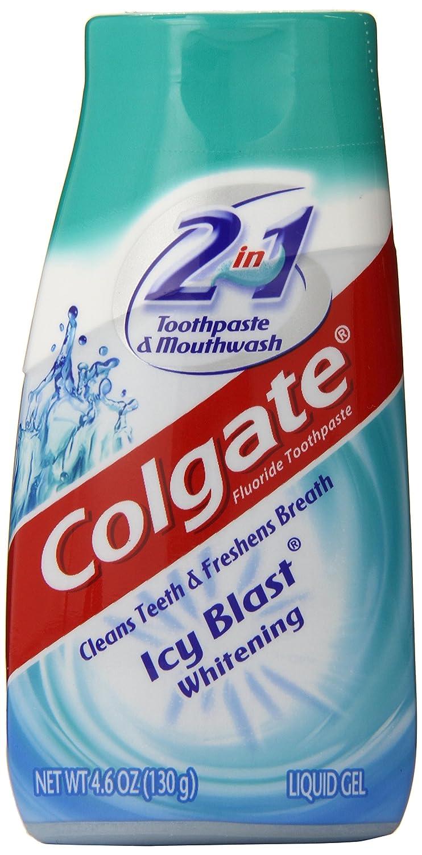 Colgate 2-IN-1ホワイトニング歯磨き粉ゲルうがい薬、氷ブラスト - 4.6オンス 4.6オンス B000GGG0XY