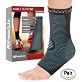 PowerLix Ankle Brace Compression Support Sleeve for Athletics, Injury Recovery, Joint Pain. Plantar Fasciitis Foot Socks with Arch Support, Eases Swelling, Heel Spurs, Achilles tendon