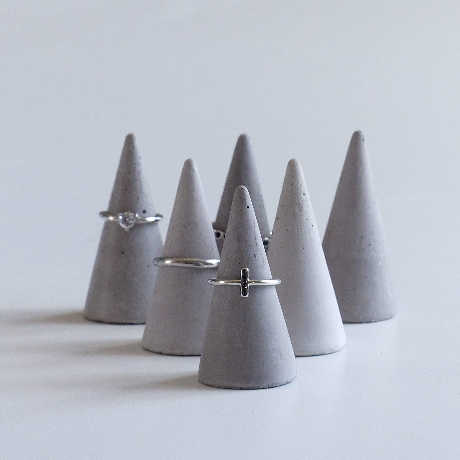 Handcrafted Set of 6 Concrete Cone Ring Holders Atelier IDeco