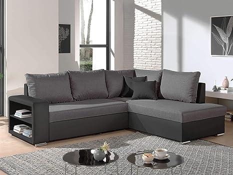 Bestmobilier Athena - Sofá de Esquina Convertible con baúl y ...