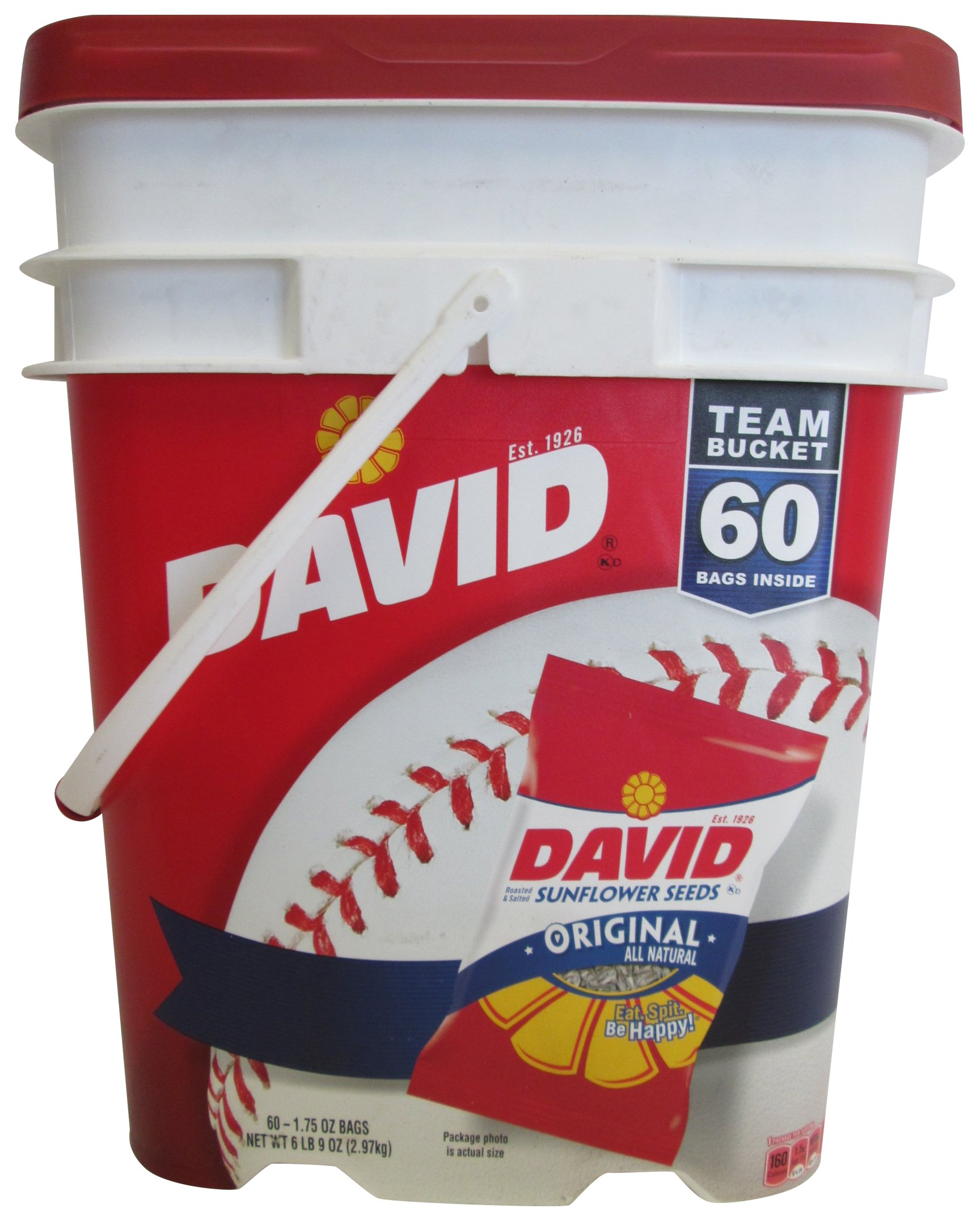 David Sunflower Seeds Roasted & Salted Original ALL Natural, Team Bucket 60 Pack of 1.75 Oz Bags by DAVID Seeds by Sinphleng