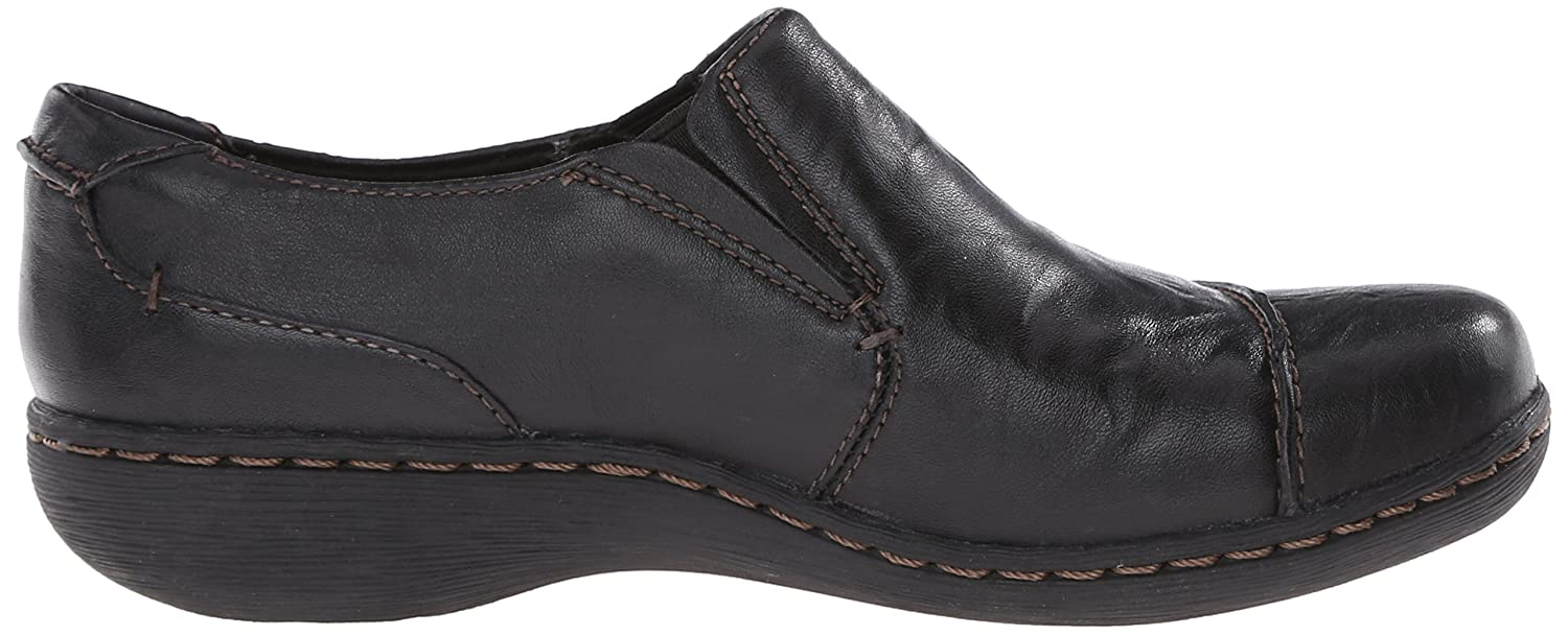 CLARKS Women's Fianna Carlie Flat B00TT5L0HE 7.5 B(M) US|Black Leather