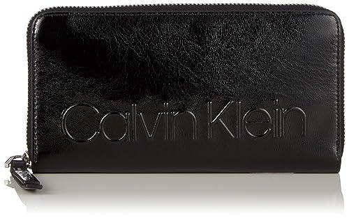 Calvin Klein Damen Edged Large Ziparound Geldbörse, Rot