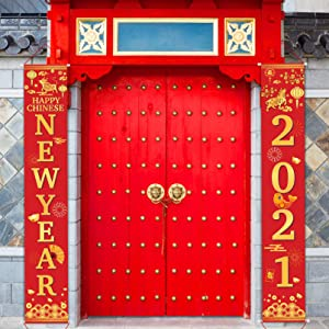 DUAIAI Happy New Year Banner 2021 Front Porch Sign,Chinese New Years Eve Party Decoration Supplies Year of The Ox Hanging Banner Décor for Indoor Outdoor Front Door New Year Holiday Party