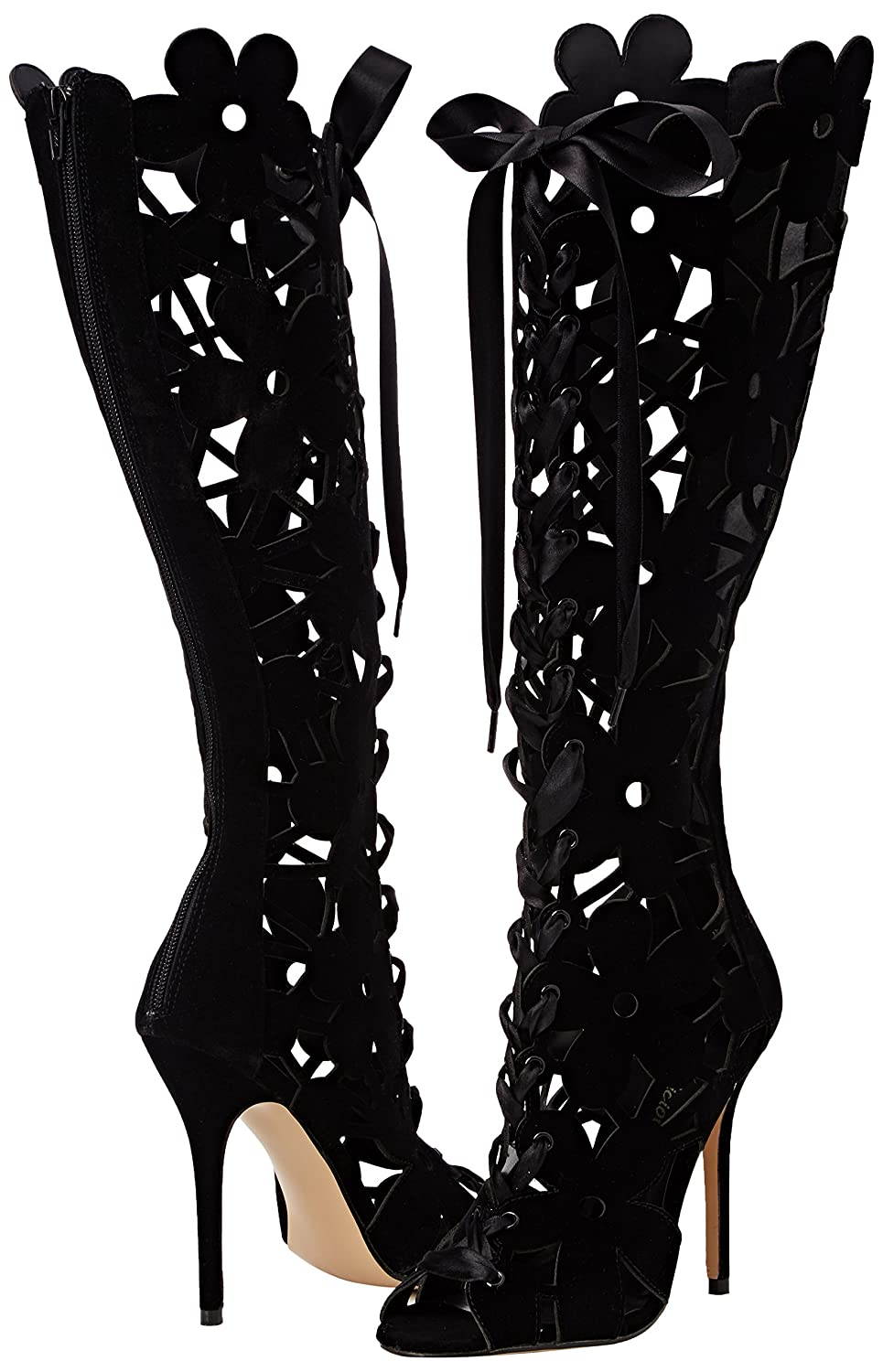 Fabulicious AMUSE-2020 5 Inch Heel Open Toe Front Lace-up Knee High Boot