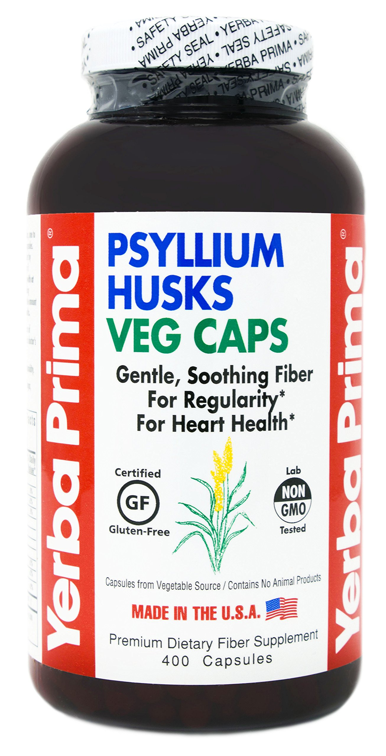 Yerba Prima Psyllium Husks Veg Caps - 400 Count (625mg per capsule) - Non-GMO, Gluten Free, Daily Fiber Supplement