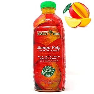 Jungle Pulp MANGO Puree Mix Pasteurized Fruit from Costa Rica Perfect for Coktails, Desserts, Smoothies and More. 33.81 Ounce / 1 Liter