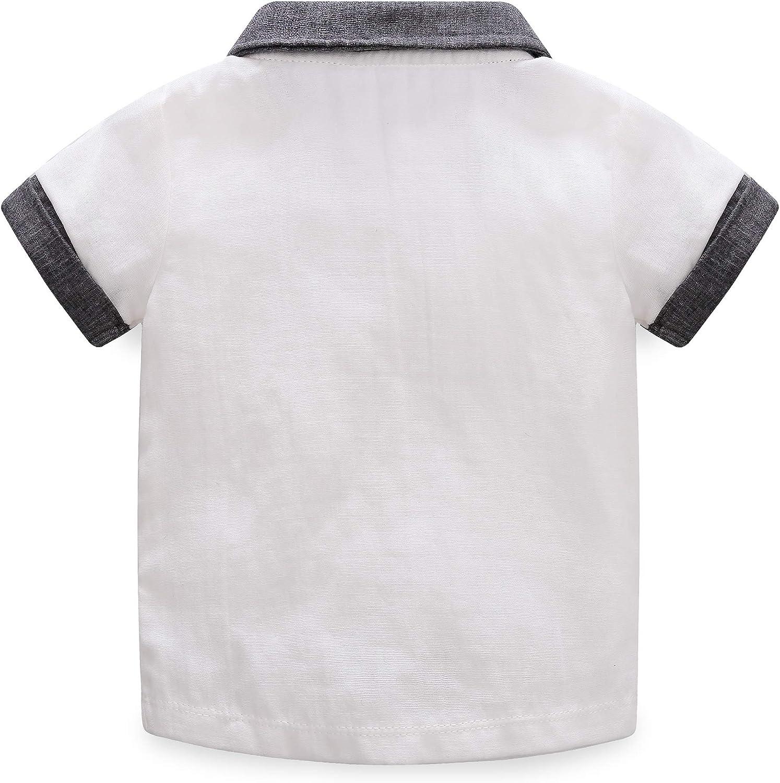 Pantalones 1-4T Traje de Caballero para ni/ños y beb/és Conjunto de 2 Piezas Camiseta de Manga Corta