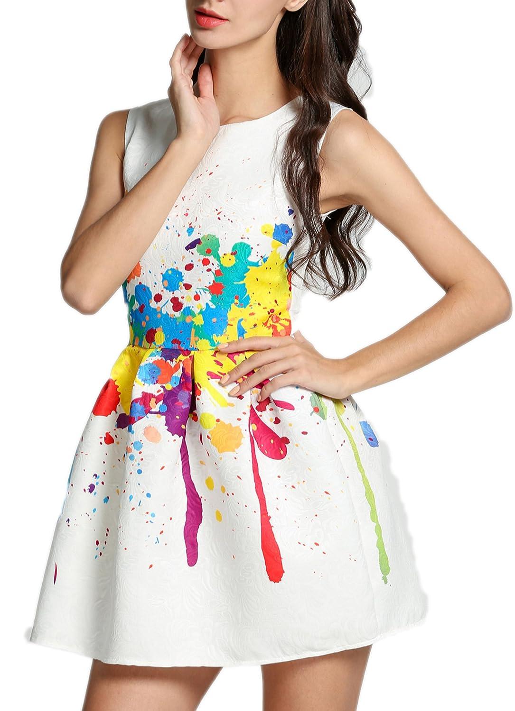 ZEARO Damen Sommerkleider Minikleid Kleider Farbe Bunt Aufspritzen