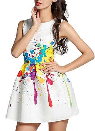 Bunt Minikleid Zearo Damen Sommerkleider Kleider Farbe Aufspritzen dxBoQeWrCE