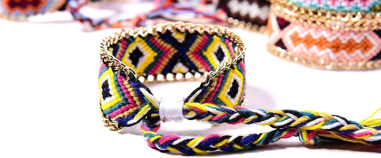 10 Piezas Pulseras de la Amistad Coloridas Pulseras Boho Pulseras Trenzadas para Mu/ñeca Tobillo Hombres Mujeres Ni/ños Kqpoinw Pulseras de Tejido