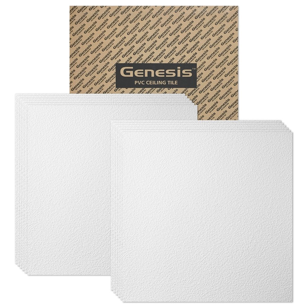 Genesis Easy Installation Stucco Pro Lay-in White Ceiling Tile/Ceiling Panel, Carton of 12 (2' x 2' Tile) by Genesis