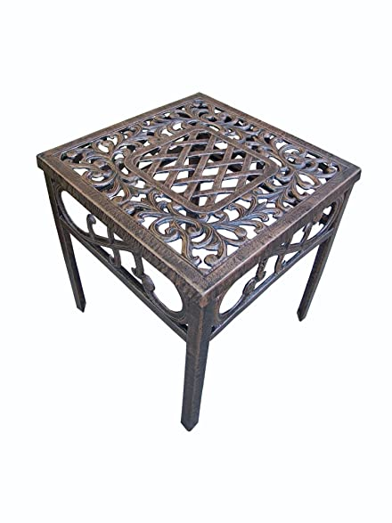 Oakland Living Mississippi Cast Aluminum End Table, 18 Inch, Antique Bronze
