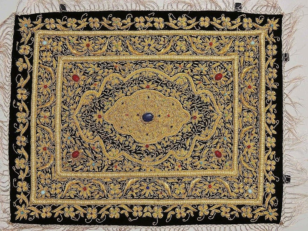 Zardozi Jewel Carpet – Handmade Wall Decoration with Traditional Stone Work ~ 24 Inch x 18 Inch